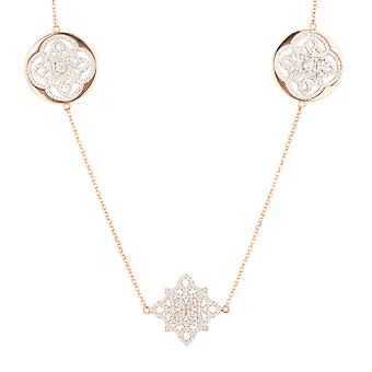 Long Pink White Celtic Knot Clover Disc CZ Bridal Jewellery Rose Gold Necklace
