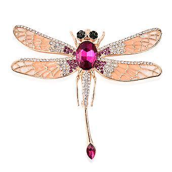 TJC Simulert Rubellite og MultiColour Crystal Dragonfly Emaljert Brosje Pin