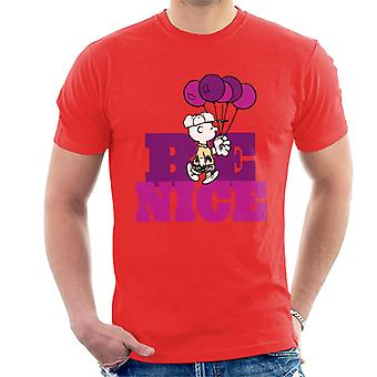 Peanuts Charlie Brown Be Nice Balloons Miesten t-paidat