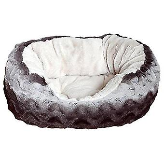 40 Winks Snuggle Bed Oval - Plush Grey & Cream - 32 inch