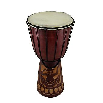 15 in. Mahogany Finish Hand-Carved Wood Drum Circle Djembe