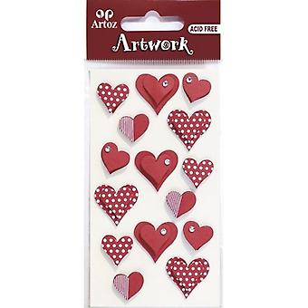 Punainen Love Hearts Craft Somiste Artoz