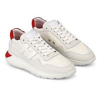 Hogan Men's sapatos de tênis de moda em couro branco e tecido com detalhes vermelhos