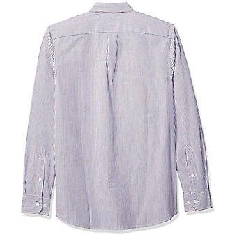 Goodthreads Men's Slim-Fit Long-Sleeve Stripe Oxford Shirt, Blue Red Narrow Stripe, Large