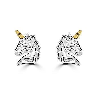 Heritage Sterling Silver Celtic Creatures Unicorn Gold Plate Stud Earrings 4259GD
