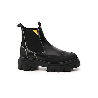 Ganni S1315099 Femmes-apos;s Bottes de cheville en cuir noir