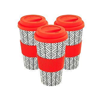 Copos de café reutilizáveis - Canecas de Viagem de Fibra de Bambu com Tampa de Silicone, Manga - 400ml (14oz) - Geométrico - Vermelho - x3