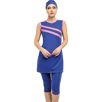Halter Sleeveless Piece Semi Burkini Muslim Swimwear Hijab, Islamic Swimsuit