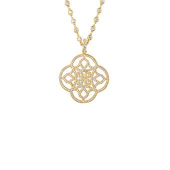 Large Yellow White Celtic Knot Clover CZ Bridal Jewellery Gold Necklace Pendant