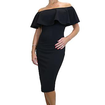 Women's Off Shoulder Bardot Ruffle Stretch Pencil Bodycon Dress Below Knee Evening Party Cocktail 10-12