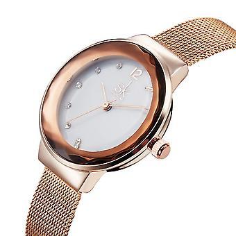 SK K0038L Moden Design Dial Case Ladies Wrist Watch Stainless Steel Quartz