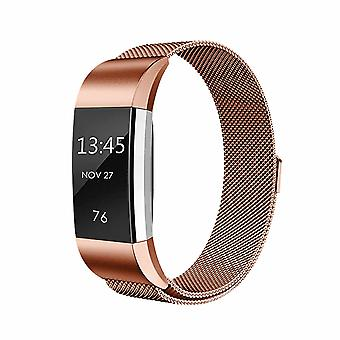 Milanese Stainless Steel Wrist Band For Fit-bit Charge 2 Smart Trackers - Rose Gold