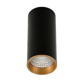 Moderne technische LED-oppervlak gemonteerd zwart, goud, warm wit 3000K 820lm