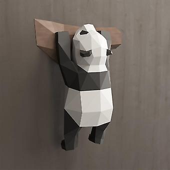Hauska diy seinä roikkuu käsintehty 3d geometrinen panda koriste kodin sisustus