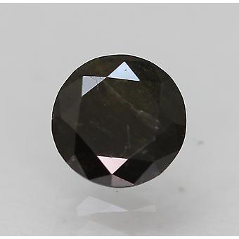 Cert 0.66 Carat Fancy Black Round Brilliant Enhanced Natural Diamond 5.61mm