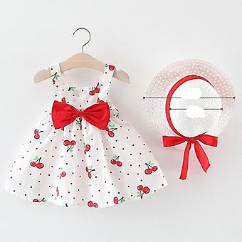 Infant  Clothes - Summer Cherry Dot Princess Dresses, Bow Hat Outfits