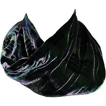 Tartan Silk Infinity Scarf Boxed Black & Green  by Ladycrow Scotland
