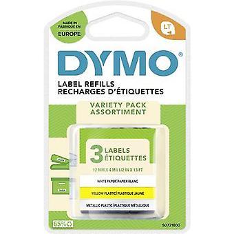 DYMO 91241 merkintä nauha 3-osainen setti nauha väri: Hyper Yellow, hopea, valkoinen fontin väri: musta 12 mm 4 m