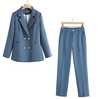 Vintage Autumn Winter Thicken Women Pant Suit
