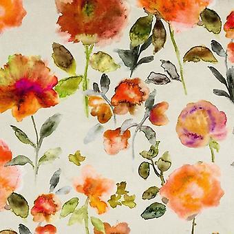 Mcalister tekstiler Renoir blomster brændt orange fløjl stofprøve