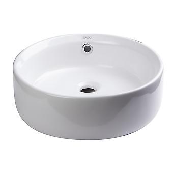 "Eago Ba129  16"" Round Ceramic Above Mount Bathroom Basin Vessel Sink"