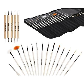 Professional 20pc Nail Art Design maleri detaljering børster & Dotting penn tegneserien verktøysett sette