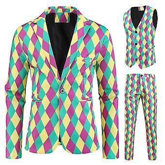 Mænd 's Fashion Trykt 3 Piece Casual Suits Hip Hop Slim Fit Suit Set
