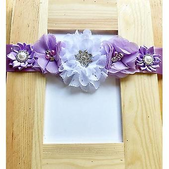 Purple And White Maternity Sash - Maternity Sash -