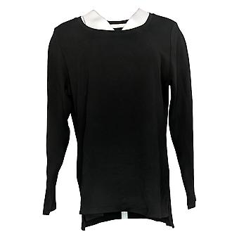 إسحاق مزراحي لايف! Women's Top Cotton Hi Low Hem Knit Black A389762