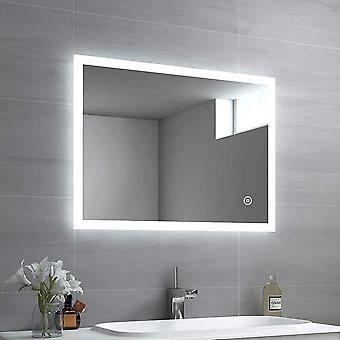 EMKE LED Badspiegel 80x60cm Badspiegel mit Beleuchtung kaltwei Lichtspiegel Badezimmerspiegel