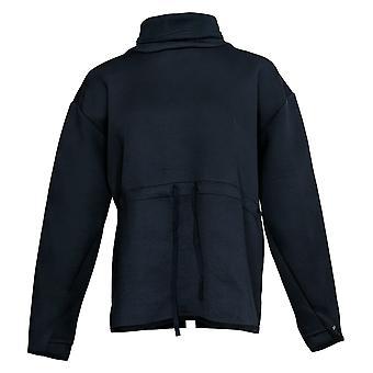 Zuda Women's Sweatshirt Scuba Knit Funnel Neck With Tie Waist Blue A388474