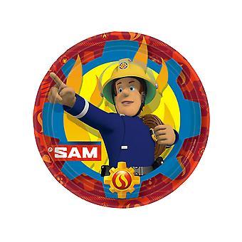 8 Kartonnen platen Sam de Brandweerman 23 cm