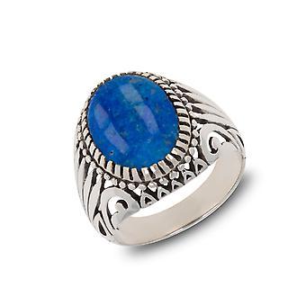 ADEN 925 Sterling Silver Lapis Lazuli Oval Shape Biker Ring (id 4203)