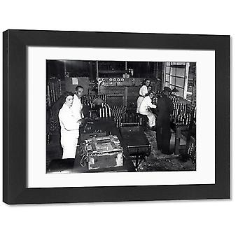 Harwoods Factory, Pulborough, July 1942. Large Framed Photo. Staff in shell making factory in.