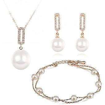 Swarovski Kristallen Weie simulierte Perlen Schmuck-Set Halskette Anhnger 45 cm Ohrhnger Ohrringe