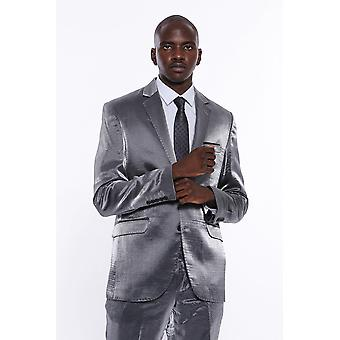 2 Buttoned grey striped suit