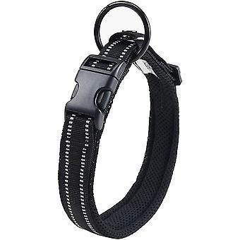 Hundehalsband Verstellbare Nylon Hunde Halsband Atmungsaktives 3M Reflektierend Halsband(M,Schwarz)