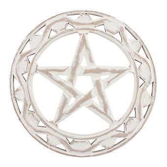 White Wooden Pentagram Wall Art