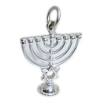Menorah Sterling Silver Charm .925 X 1 Jewish Candelabra Charms - 15402