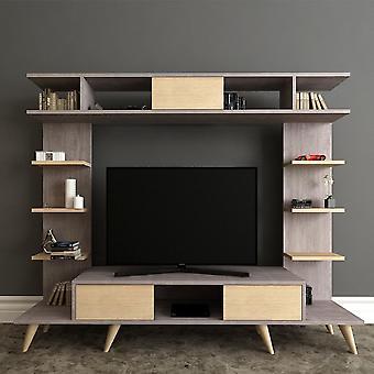 Mobile Porta TV Pan, Colore Grigio, Rovere in Truciolare Melaminico, L180xP35xA135 cm