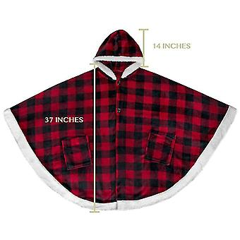Oversized Soft Sherpa Fleece Hooded Warm Throw Cape With Pockets For Women(Red Plaid)