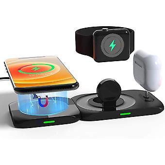 Bezprzewodowa ładowarka, 4 w 1 Magnetyczna stacja ładująca Kompatybilna z produktami Apple Magsafe Charger dla iPhone 12 / Pro / Pro Max / Mini, Apple Watch Airpods Pro / Airpod Wiele urządzeń Ładowarka, (czarny)