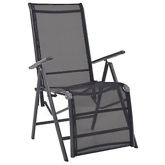 vidaXL chaise longue aluminium et textile noir