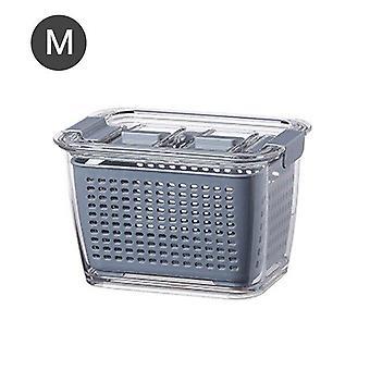 Fresh Keeping Box Refrigerator Fruit Vegetable Drain Crisper Kitchen Food Container(blue)