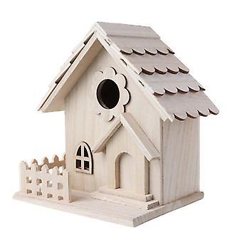 Creative Wooden Bird House Breeding Cage Box Backyard Pendant Simulation Fence Birdhouse Home Decora