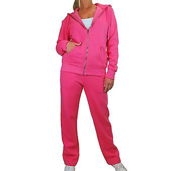 Női Soft Fleece Back melegítő set Ladies 2 darab kapucnis Zip Top és Kocogó Alsó Loungewear Sweatsuit