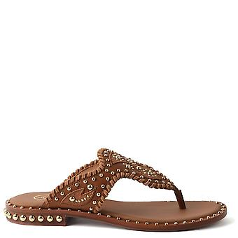 Ash PHEDRA Sandals Woven Brown Leather