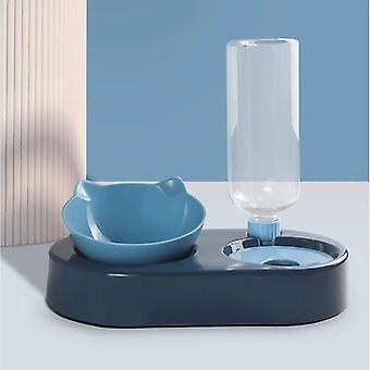 Cat Bowl Water Dispenser Automatic Water Storage Pet Dog Cat Food Bowl Food Container(blue)