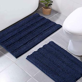 Navy bath mats shower rugs slip-resistant extra absorbent soft and fluffy thick bath mats, non-slip microfiber shag floor mats-50x80cm plus 43x 61cm