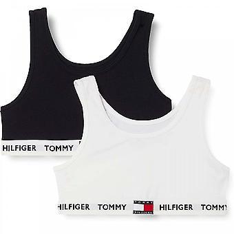 Tommy Hilfiger Girls 2 Pack Organic Cotton Bralette, White/Desert Sky Age 8-10 Years